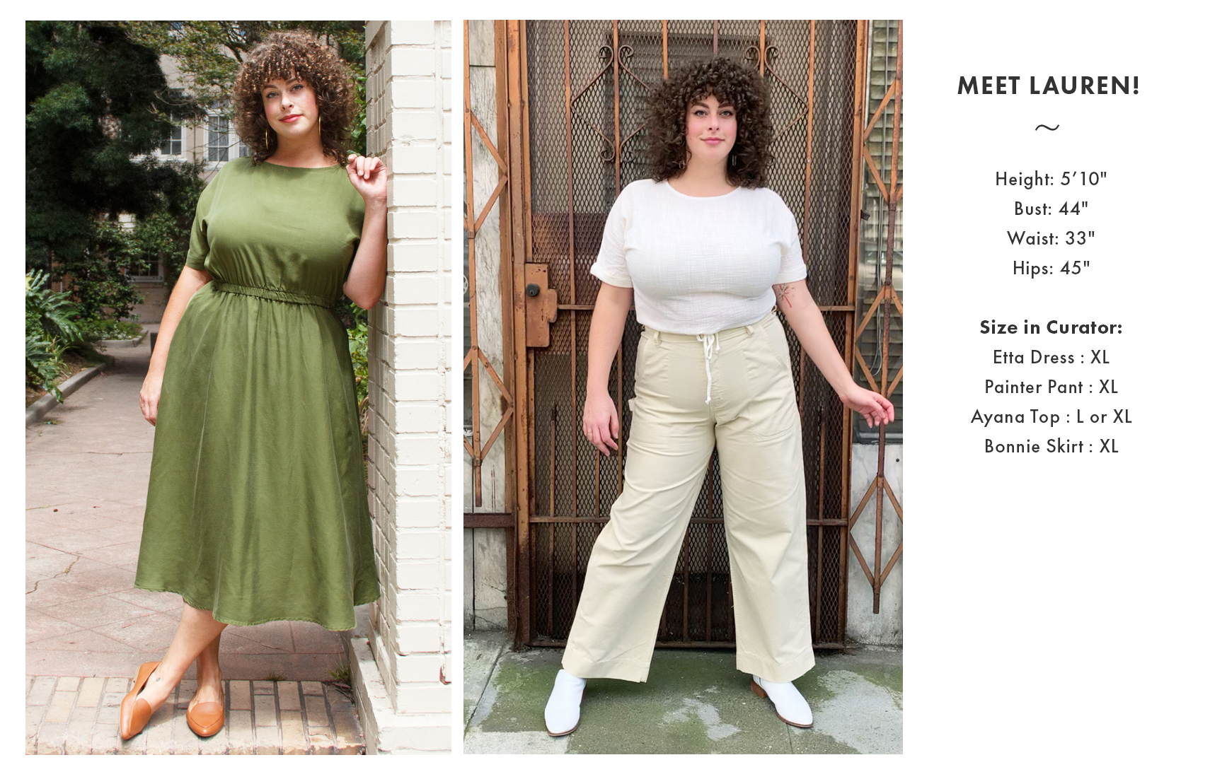 model with size measurements
