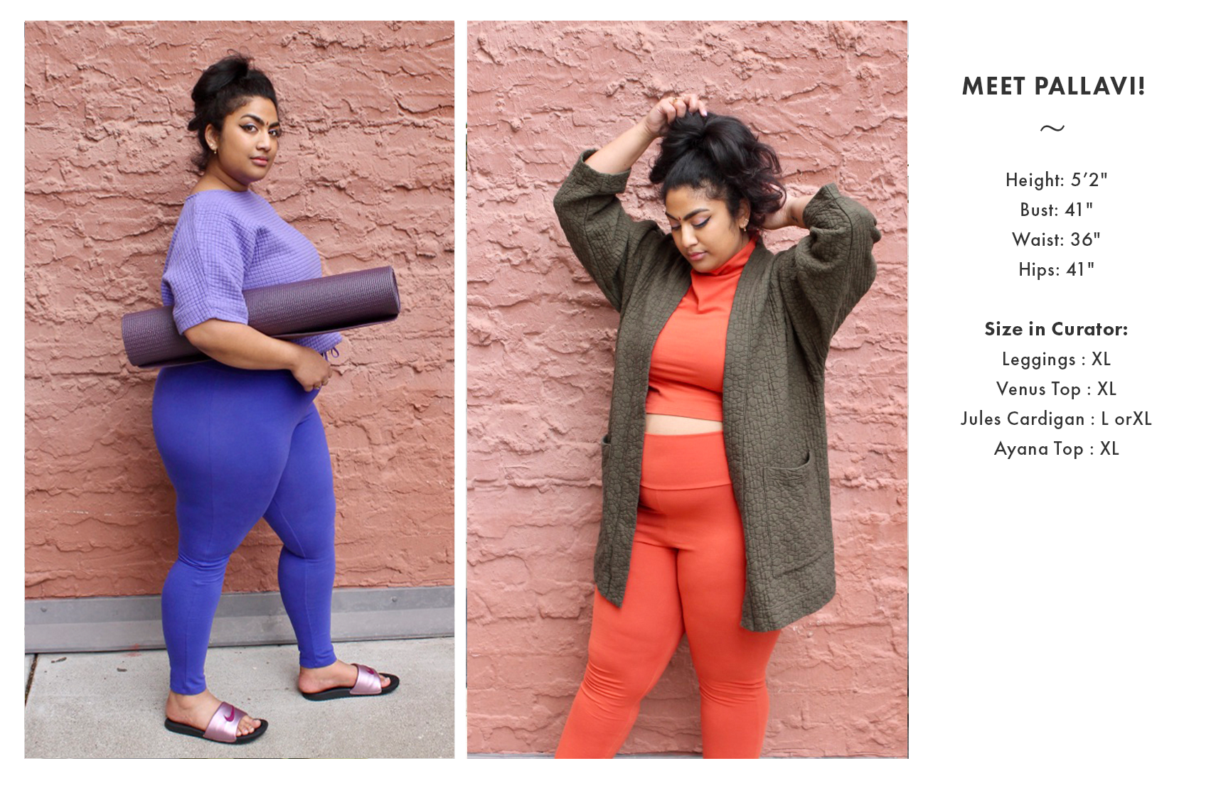 Model in clothes with sizing listed