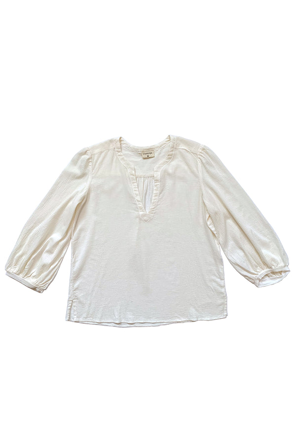 White long sleeve blouse with balloon sleeves