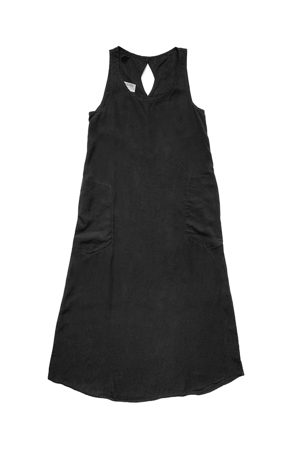 long black sleeveless dress flat on white background