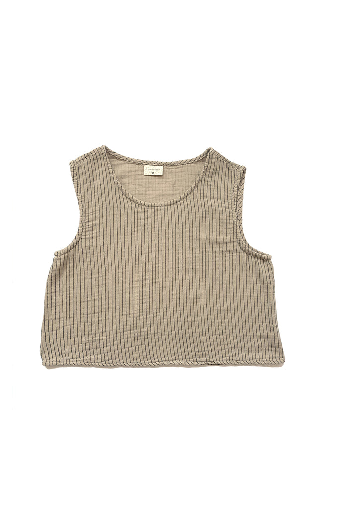 pinstriped beige tank top flat on white background