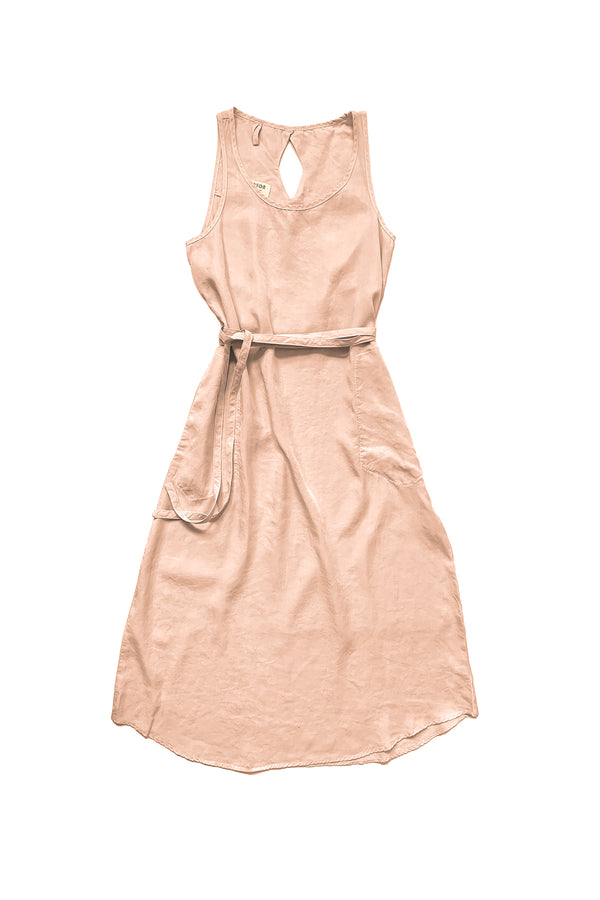 light pink sleeveless dress with tie waist