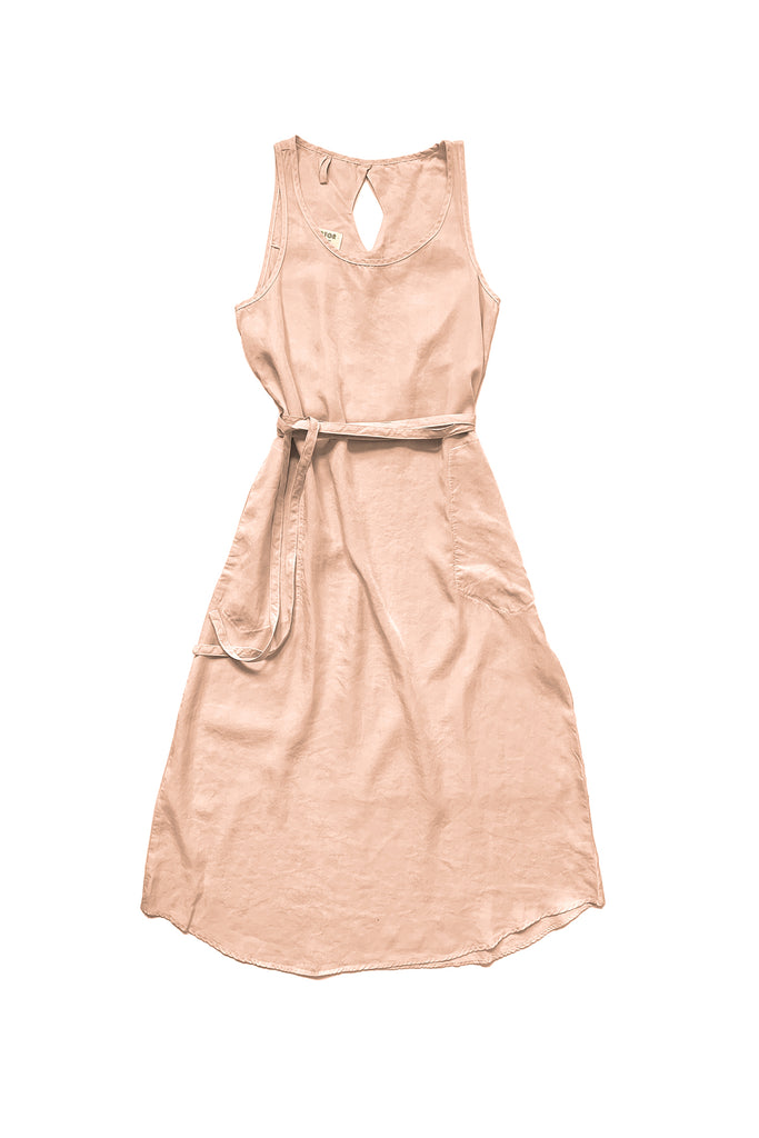 light pink sleeveless dress with tie waist against white background