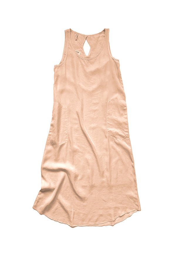 Midi length light pink sleeveless dress laid flat on white background