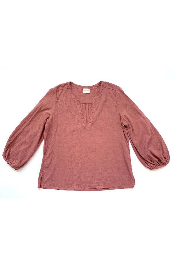 rose pink blouse with long sleeves
