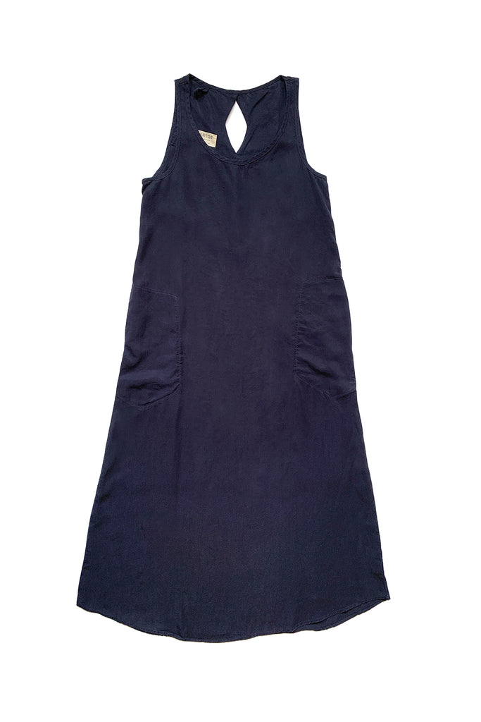 long deep blue sleeveless dress