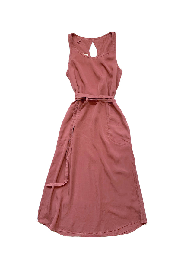 rose pink maxi length dress with tied waist against white background