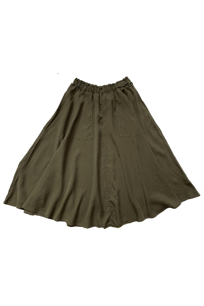 Army green elastic waist maxi skirt with pockets spread out on white background