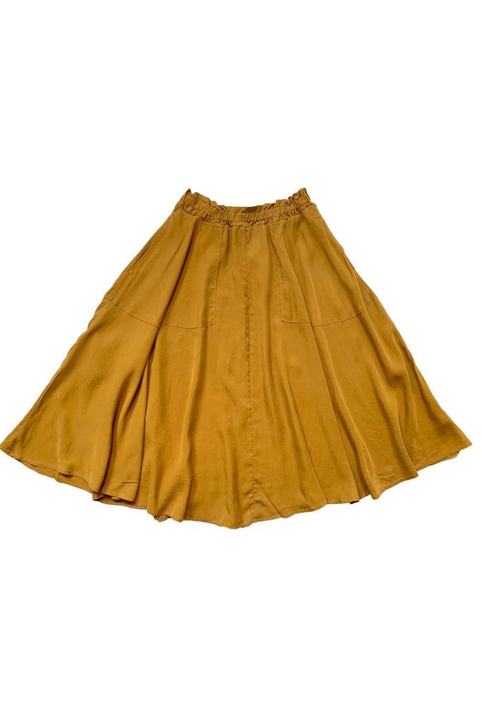 Full yellow maxi skirt spread out on white background