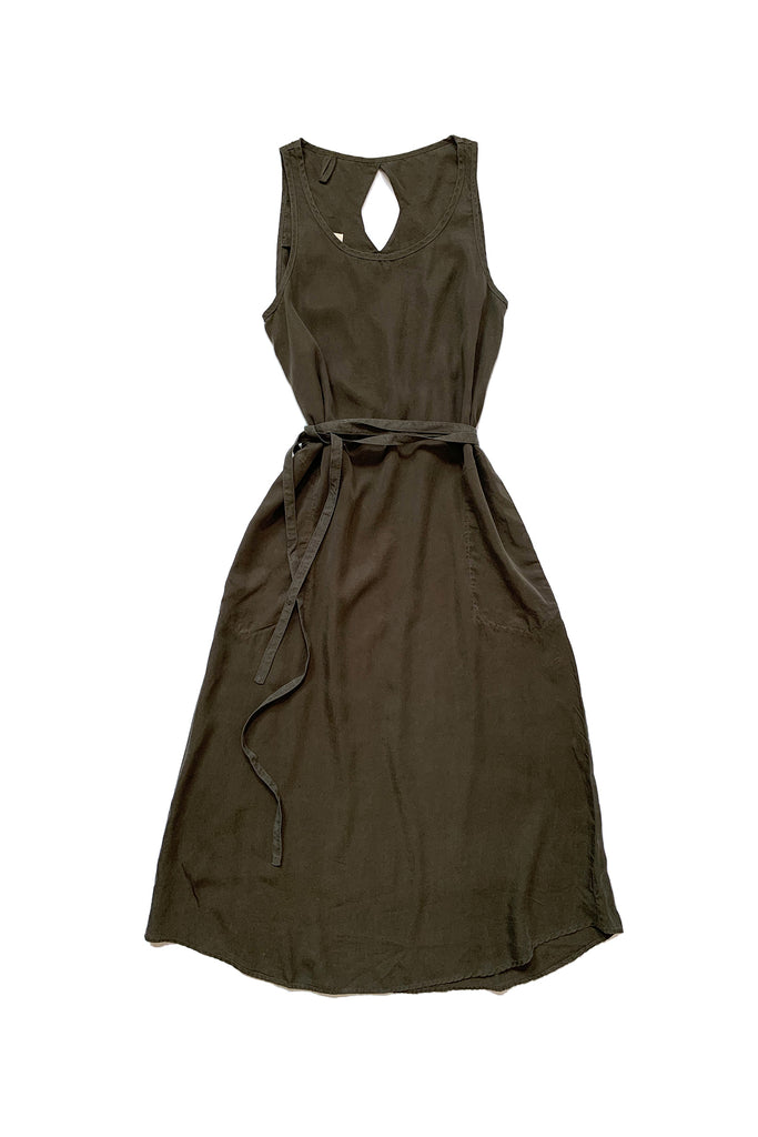 army green dress with no sleeves and tied waist