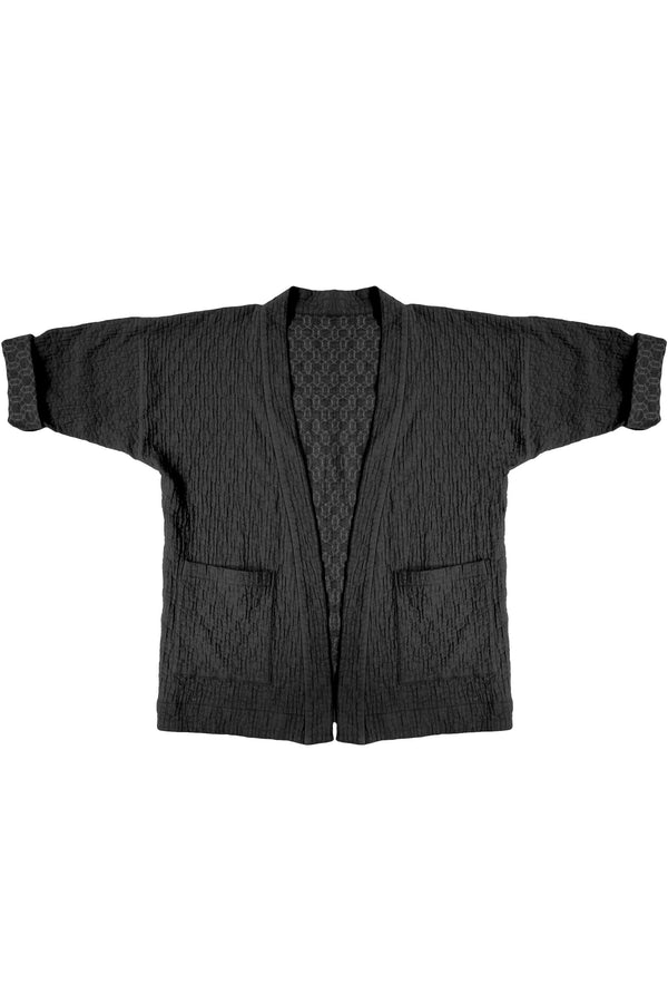 black quilted jacket with patch pockets on white background