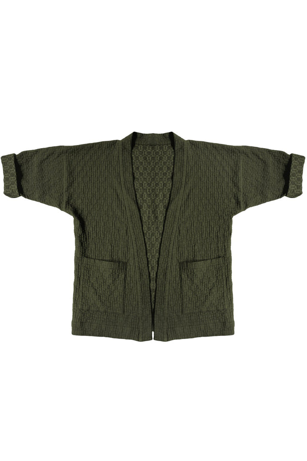 forest green quilted jacket with patch pockets