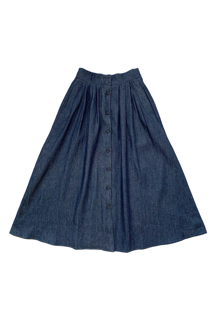 Dark denim button up maxi skirt on white background