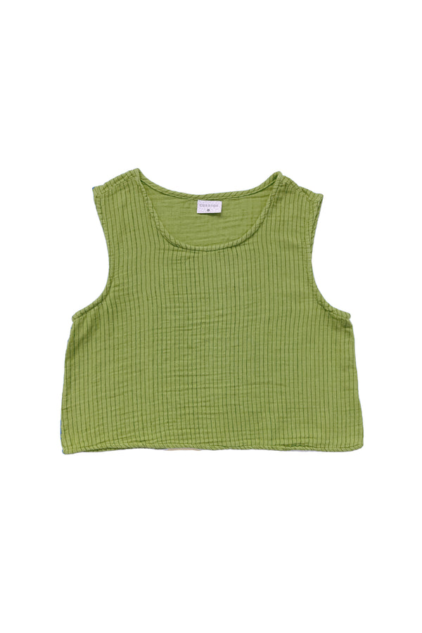 green tank with striped on white background