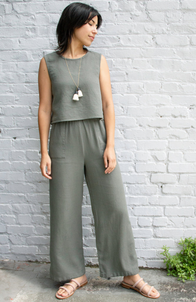 wide leg dusty green pull on pants