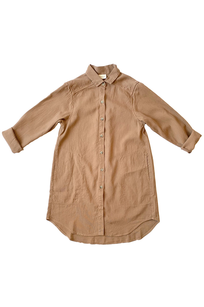 Button up shirt with pockets in camel colored tan