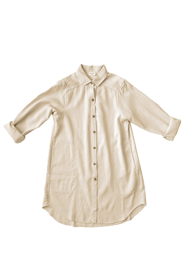 Long sleeve button up with collar in natural white