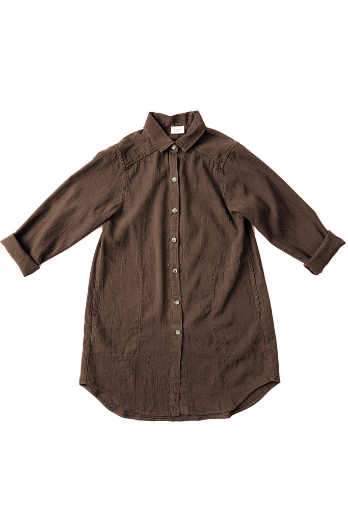 Long button up collared shirt in tobacco brown