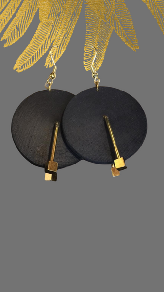 Hand dyed wood disc earrings w/Gold accents