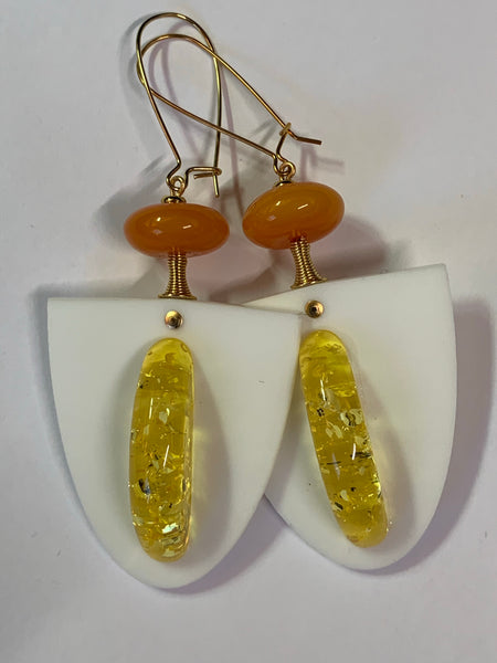 Earrings - Lasercut Milk Glass / Resin