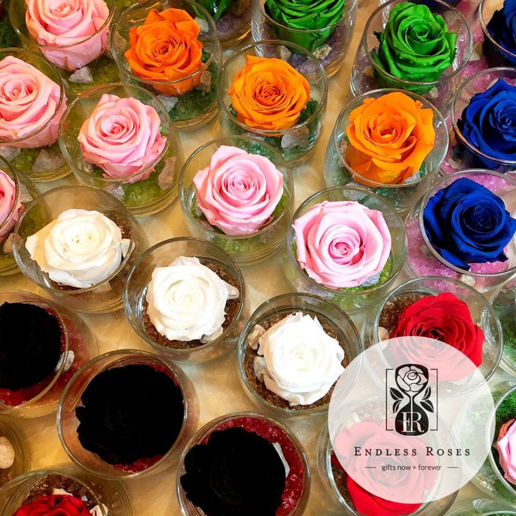 Endless Ace (single preserve rose in a glass jar with coloured crystals) Overhead view in multiple colours.