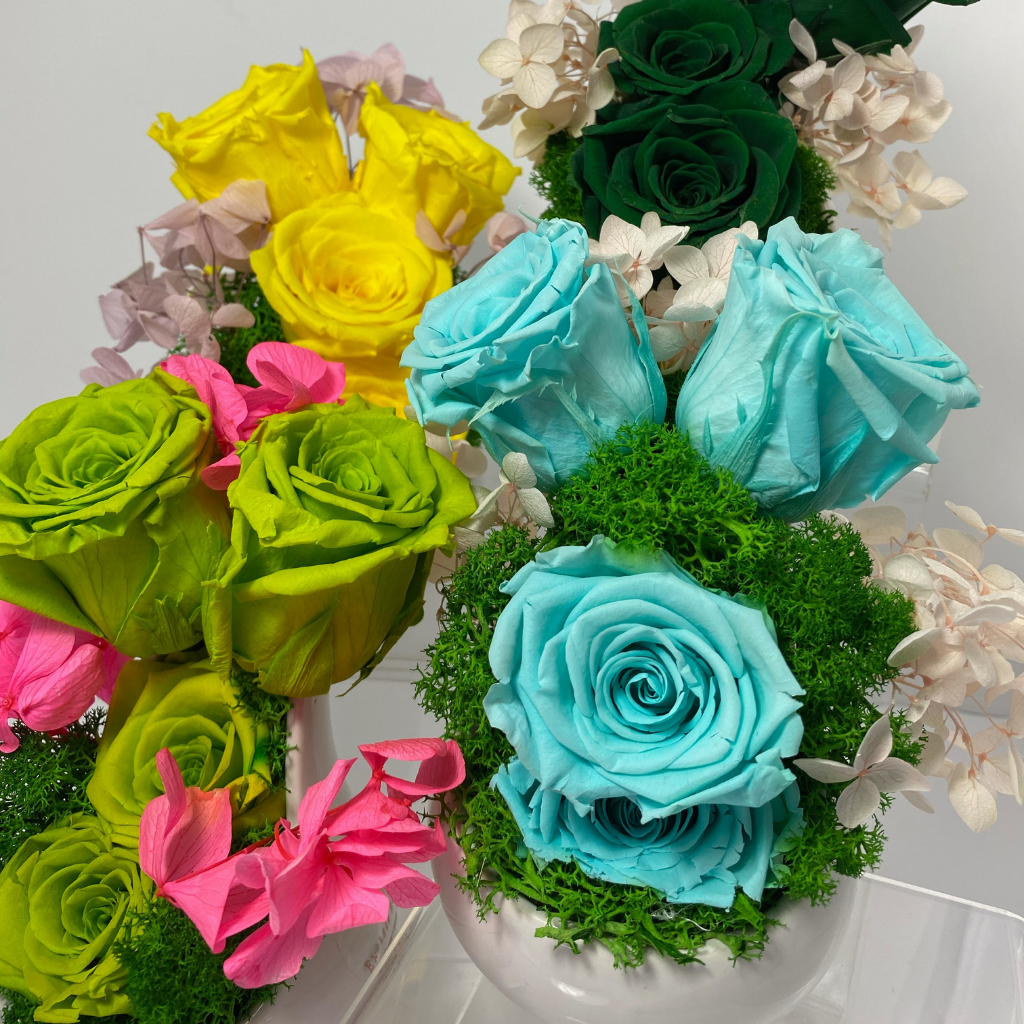 Four Bliss arrangements. Fores green on the top right. Yellow Canary on top left, Sky blue on bottom right and lawn green on bottom left. Bliss arrangement compose of roses inside an oval shape white terrarium. The roses are arranged two on top of one another and two diagonally placed on the top.
