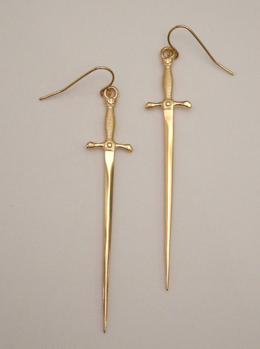 dagger earrings, long dagger earrings, dangle cross earrings, dangling cross earrings for men, cross earrings men, gold cross earrings, gold cross dangle earrings, long gold earrings, cool earrings for men, biker jewelry, american jewelry