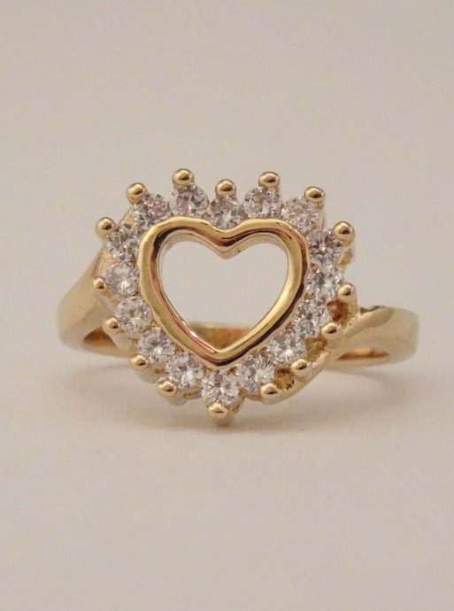 cubic zirconia ring, heart ring