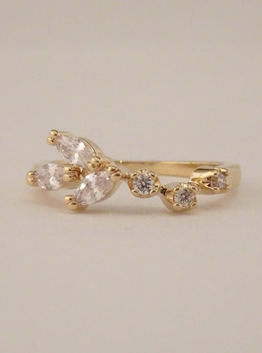 cubic zirconia ring, dainty ring, cluster ring