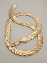 Load image into Gallery viewer, herringbone necklace, gold herringbone necklace, silver herringbone necklace, herringbone necklace mens, chunky gold necklace, chunky chain necklace, everyday necklace, snake chain necklace, mens gold chain necklace, biker jewelry, american jewelry