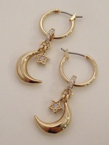 moon earrings, moon dangle earrings, moon and star earrings, half moon earrings, moon hoop earrings, moon and star earrings gold