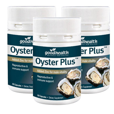3x Good Health Oyster Plus Added Zinc for male vitality 60 Capsules made in New Zealand