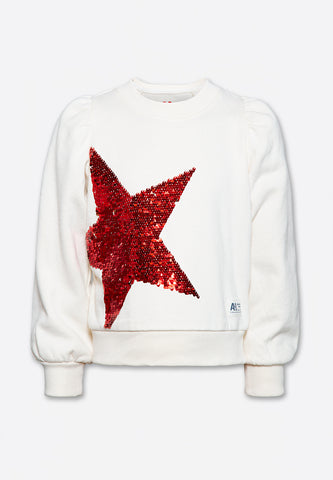 C-Neck Puff Sweater Stars
