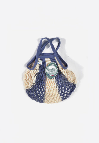Net Shopping Bag 5 Ray Bleu Jean + Ecru