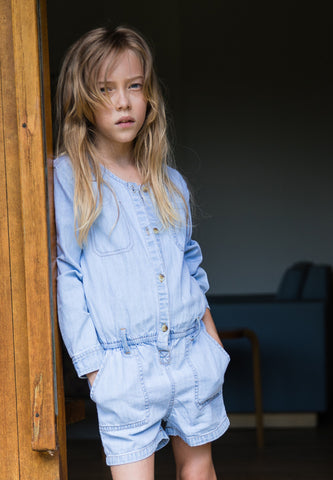 Roslyn Bleached Blue Short Overalls