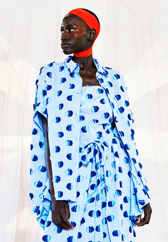 Wind In Blouse Light Blue Dots