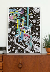 Giant Coloring Poster Black Cosmic