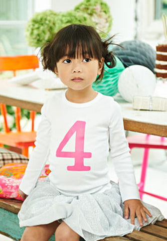 Number Tee White & Pink