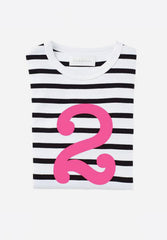 White & Black Breton Striped Pink Number T-Shirt