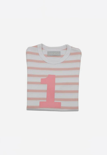 Dusty Pink & White Breton Striped Number T-Shirt