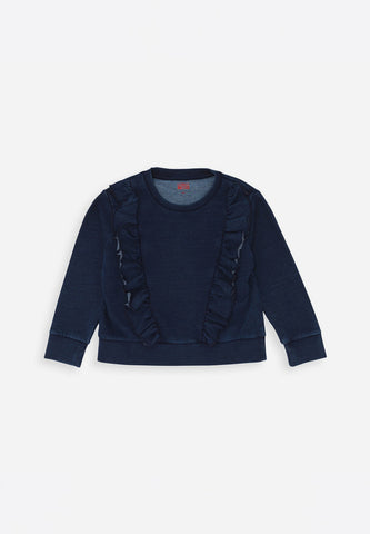 Ruffled Sweatshirt Indigo