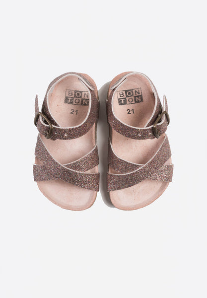 Crossed Leather Sandals Glitter