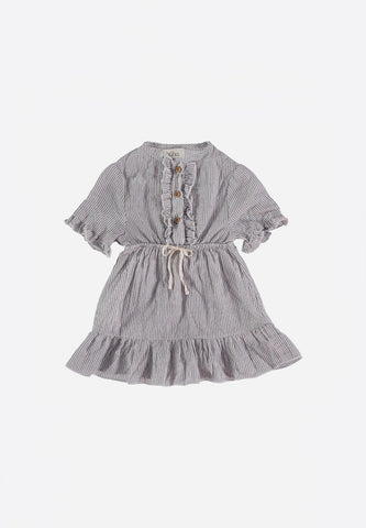 Laura Baby Mini Stripes Voile Dress Grey