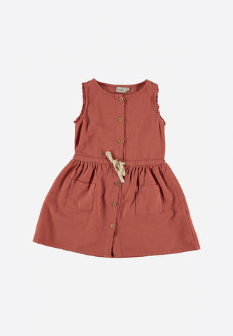 Andrea Front Buttoned Dress Terracotta
