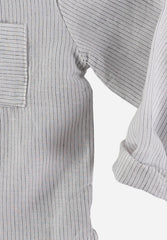 Harvey Cotton Linen Striped Shirt Ecru