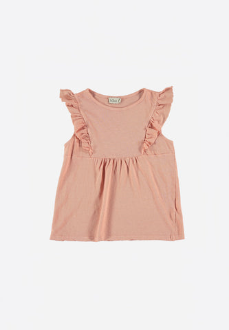 Claire Cotton Linen Ruffled T-Shirt Old Rose