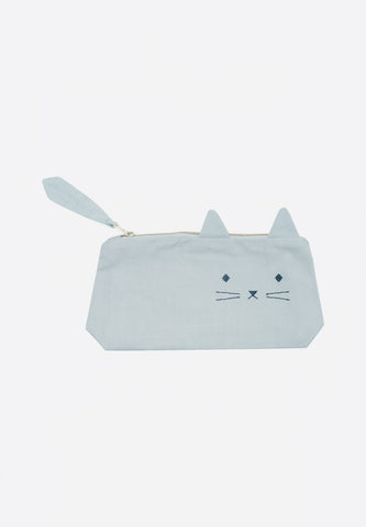 Pencil Case Cat Foggy Blue