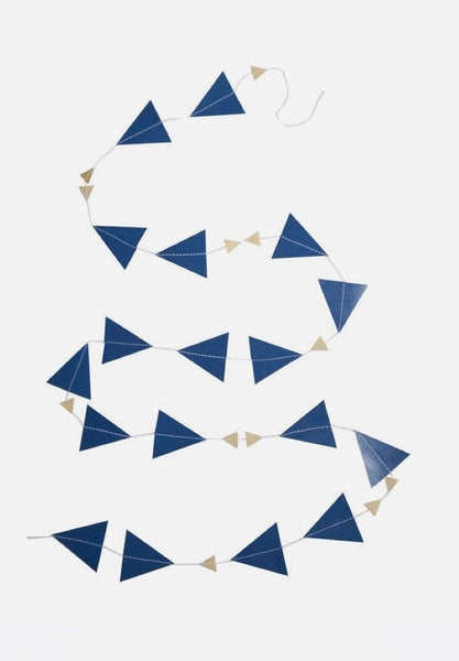 Paper Triangle Garland Dark Blue