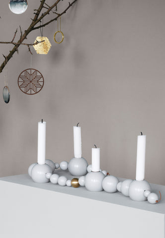 Candle Holder String Grey