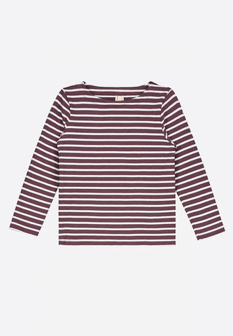LS Striped Tee Plum White